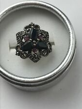 14K Gold Sterling Silver Ruby Onyx Marcasite Flower Ring