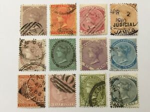 old stamps  JAMAICA   x  12  QV