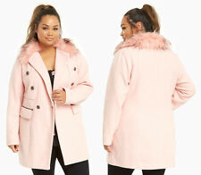 Torrid Faux Fur Collar Military Jacket Winter Coat Baby Pink Womens Plus Size 5X