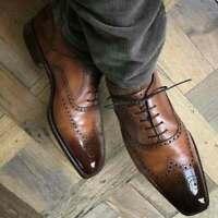 Chaussures formelles richelieu à lacets en cuir marron véritable pour hommes