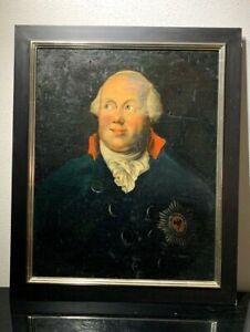 König Friedrich Wilhelm II von Preußen Öl auf Leinwand Original aus der Zeit