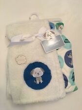 Cute & Cuddly Baby Boy Blanket White Green Aqua Blue Puppy Dogs Layette 30x40