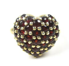 925 Sterling Silber Ring vergoldet Granat Edelsteine Herz Vintage Modernist oN6