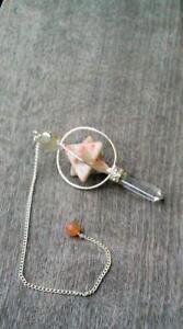 Jet Sunstone Spinning Merkaba Pendulum Carved Healing Reiki Dowsing A