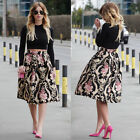 Women Stretch High Waist Flora Skater Flared Pleated Swing Long Midi Skirt Dress