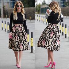 AU Fashion Retro Womens Floral Print High Waist Dress Skater Long Skirt Dress