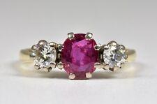 Vintage 18ct Gold Ruby & Diamond 3 Stone Ring, (London,1983)