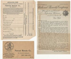 """Early 20th C. National Remedy Company Patent Medicine """"Looking for Agents"""" Lot"""