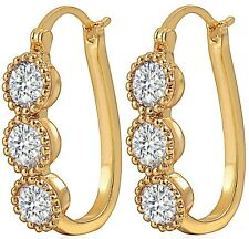 Huggie Hoop Earrings Jewelry Gold Clear CZ Gem Crystals Womens