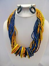 Clip on brass yellow, gold, blue seed bead hoop necklace & earring set