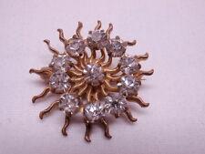 Vintage Art Deco Pin Brooch Gold Sunburst Wavy Rays Clear Rhinestones Crystals