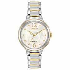 Citizen Eco-Drive Silhouette Mother of Pearl Dial Watch EM0554-58N New No Tags