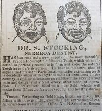 Original 1839 Boston disply newspaper EARLY ILLUSTRATED DENTAL ADS Teeth DENTIST