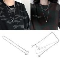 Double Layers Pendant  Metal  Long Chain Necklace Fashion Women men Jewelry G HF