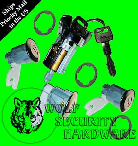 Ford Ignition Key Switch Lock Cylinder & Door & Rear Lock Set Chrome W/ 2 Keys