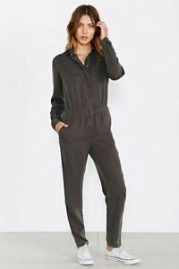 NWT BDG Womens Sz S Slouchy Metro Jumpsuit Long-Sleeved Snap-up Hand-Dyed Black