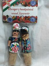 Reduced: Hand Painted Wood People Cork Bottle Stoppers From Hungary Nip