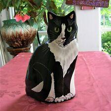 "CATS BY NINA LYMAN BLACK AND WHITE CERAMIC CAT VASE SYLVESTER SIGNED 11""X7"""
