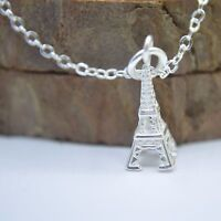 """Solid 925 Sterling Silver Small Cute Eiffel Tower Pendant 17.7""""Chain Necklace UK"""