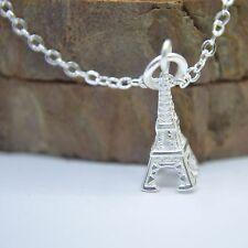 """Solid 925 Sterling Silver Small Cute Eiffel Tower Pendant 17.7"""" Chain Necklace"""