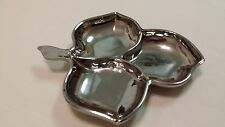 Mid-Century Silver Mirror Finish Glass 3 Leaf Candy Serving Dish