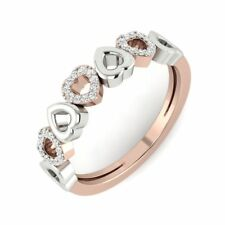 Anniversary Two Tone Love Band Natural Round Diamond Ring 14Carat Rose Gold