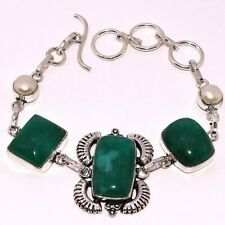 """EMERALD 925 SILVER PLATED BRACELET 8.3"""", AB-8366"""