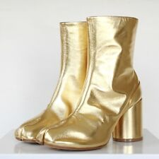 MAISON MARTIN MARGIELA tabi split toe gold leather high heel ankle boots 38 NEW