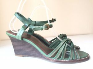 CLARKS Green Ladies Strappy Leather Sandals Wedges Heel 39 6 Ankle Strap Summer