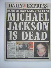 """MICHAEL JACKSON """"Daily Express"""" 26th June 2009 - 7 pages reporting singers death"""