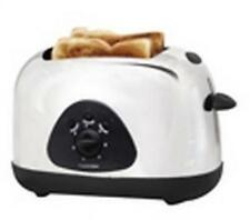 Lloytron 2 Slice 700w Bread Toaster Reheat Defrost Polished Steel Black Trim New