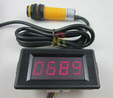 12V 4 Digit Red LED Counter Meter+Infrared proximity photoelectric switch sensor