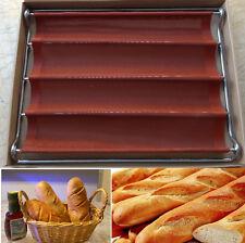 4 roll Loaf Mould Nonstick Fiberglass Baguette French Bread Pan Bakery Bake Mold