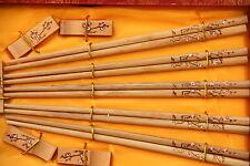 5 Baguettes Chinoises-Chopsticks-Kuai Zi-Junquillos-Stäbchen-bacchette-Fleur