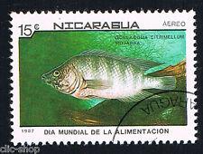 FLORA E FAUNA 1 FRANCOBOLLO PESCI NICARAGUA CICREASOMA CITRIMELLUM 1987 timbrato
