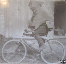 ANTIQUE BICYCLE INFANTRY RIFLE SOLDIER RARE MILITARY MAGIC LANTERN SLIDE PHOTO
