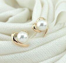2016 NUOVA moda coreana BELLA 18k ORO PLACCATO ORO CUORE perno dell'orecchino di perla