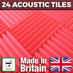 24 Red Acoustic Foam Tiles Studio Sound Treatment Panels For Podcasts Streamers