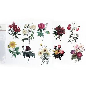 Large Pretty Flowers & Foliage Clear Transparent Plastic Peel Off Stickers