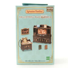 Sylvanian Families CLASSIC BROWN TV & PHONE STAND SET Calico Critters 14192
