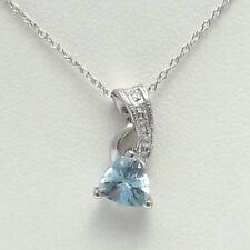 "10k White Gold Aquamarine March Birthstone Diamond Pendant Necklace 18"""