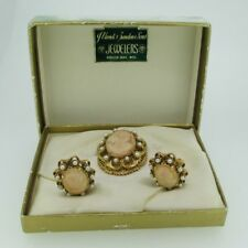 Vintage Florenza Gold Tone Cameo and Pearl Brooch Pin Clip Earring Set