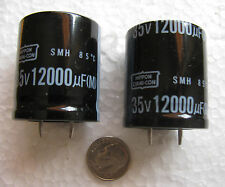 2 pcs Nippon 12000uF 35V Low Impedance 35x25 snap in Electrolytic Capacitors