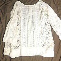 Sundance Catalog PS lace LS blouse tunic, cream color, sheer, nylon blend