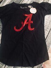 University of Alabama Ladies Black Tee with Crimson Sequined Script A