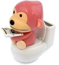 Solar Power Motion Toy - Monkey on Toilet Pink