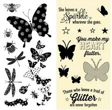 2 Sets Clear Stamps - Butterflies, Dragonflies, Butterfly, Beetle, Spider