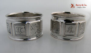 Coin Silver Pair of Napkin Rings 1870