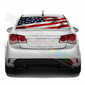 Flag designs Decals Rear Window See Thru Sticker Perforated for Chevrolet Cruze
