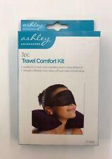 Travel Comfort Kit 3 Piece Set Inflatable Neck Pillow Cushion Ear Plugs Eye Mask